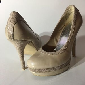 """Baby Phat """"Chance"""" Patent leather/croc look, nude"""